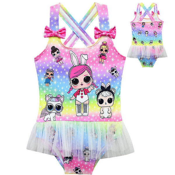 Surprise Girl Baby One-piece Swimsuit Children Summer Gauze Lace Swimwear Kids Beach Bathing Clothes Swimming Suit hot C3222