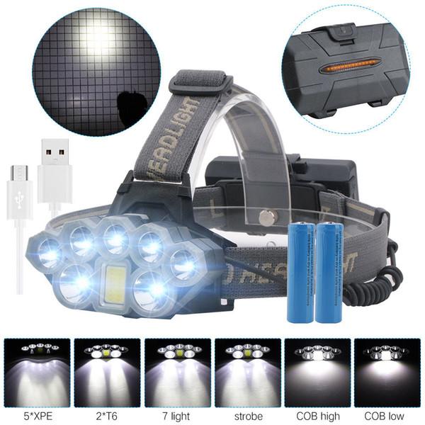 Phare rechargeable par USB 80000lm Phare 2 * T6 + 5 * Q5 + 1 * COB LED Lampe frontale Lampe de poche Torche Tête Lanterne 18650 Batterie