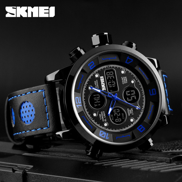 SKMEI 2019 Men's Wrist Watches Top Brand Luxury Watch Men Sports Leather Watches Business Digital Watch For Men reloj hombre