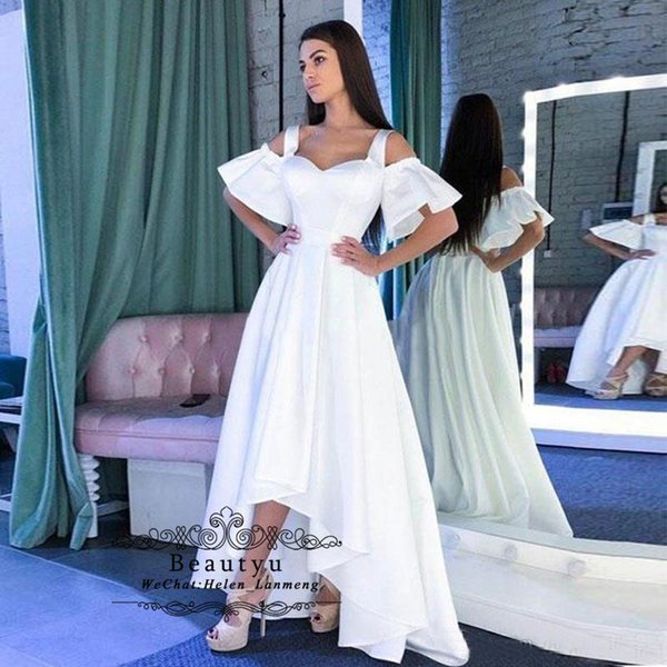 ef155a51d7 Modest A Line Satin Wedding Dresses 2019 White Tank Straps Off Shoulder  High Low Cheap Plus