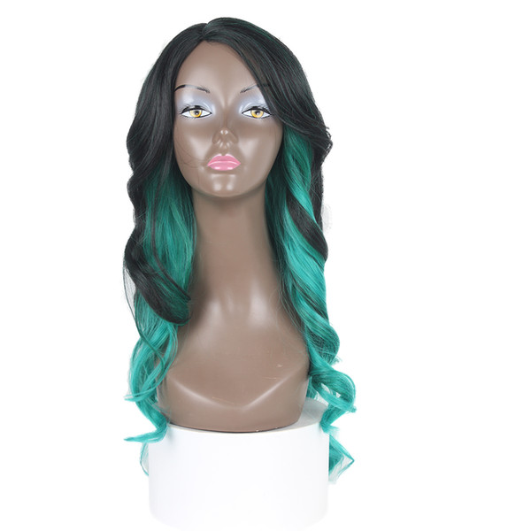 Ombre Blonde Color Wig Purple Body Wave Hair Wigs 30# 27# Blue Heat Resistant Synthetic Green Lace Wigs