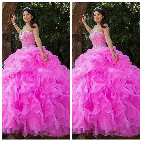 2019 Sweetheart Beaded Ball Gown Quinceanera Dresses Bling Bling Beaded Crystal Draped Junior Lace Up Back Custom Vestidos De Quinceanera Damas