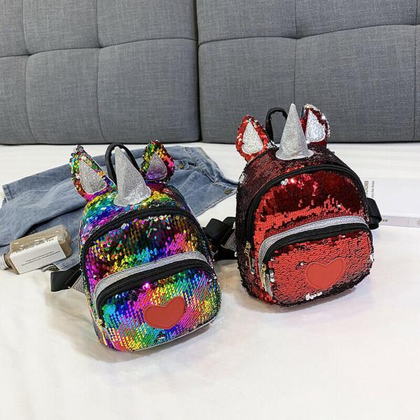 2019 unicórnio modelagem crianças mochila moda unisex lantejoula mochilas para meninas crianças escola ajustável bolsa de ombro bagpack