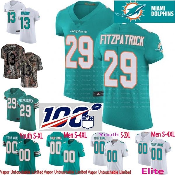 promo code 9684f 23bf3 2019 100th Anniversary Custom Men Youth Women Miami Dan Marino Minkah  Fitzpatrick Frank Gore Kenny Stills Ryan Camo Dolphins Elite Jersey From ...