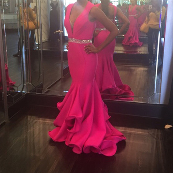 Long Arabic Evening Formal Dresses 2018 Mermaid Prom Dress robes de soiree V Neck Fuchsia Sweet 16 Ball Party Gown