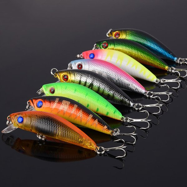 8pcs/lot Minnow Fishing Lures 3D Fish Eyes Wobbler Hard Bait 6# Hooks Diving Perch Fishing Tackle Accessory Bright Colorful 7.8cm