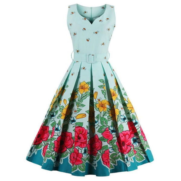 Plus Size Dress 4XL Women Floral Print Robe Pinup Ball Gown Sleeveless  Summer Tunic Swing Party Midi Vintage Rockabilly Dresses White Dress For  Teens ...