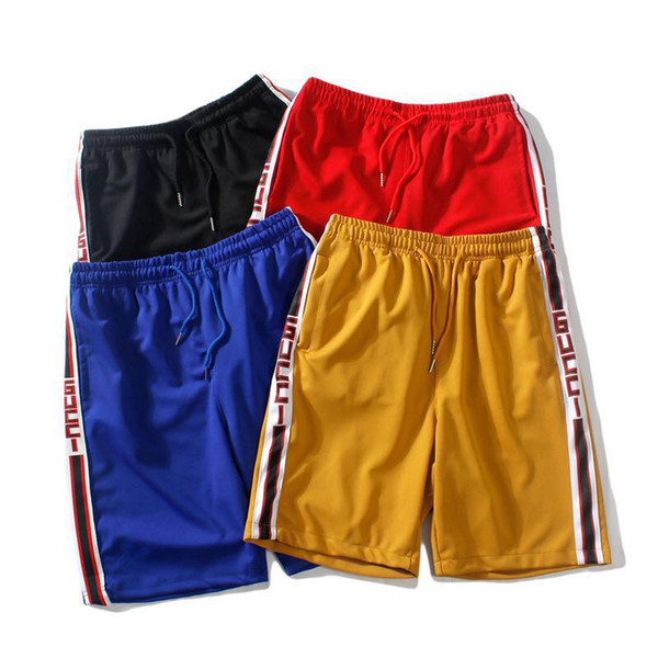 Europe and America star brand summer Fashion Designer loose contrast color stitching string printing national tide sports shorts male basket