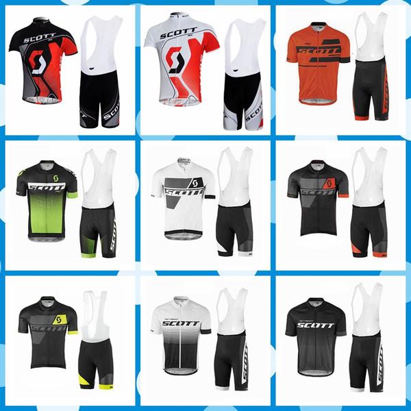 SCOTT Cycling Sports jersey culotte con tirantes establece verano para hombre Mangas cortas Ropa transpirable y de secado rápido Q80807