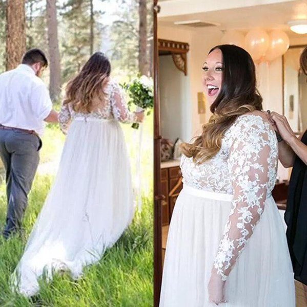 Plus Size Lace Long Sleeve Country A-Line Wedding Dresses 2019 Summer Sexy Sheer V Neck Floor Length Tulle Long Bridal Gowns Custom Made