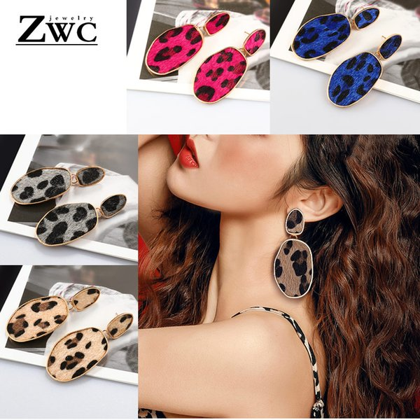 ZWC Fashion Temperament Geometry Plush Leopard Drop Earrings for Women Girls Simple Metal Bohemian Earrings Jewelry Wholesale