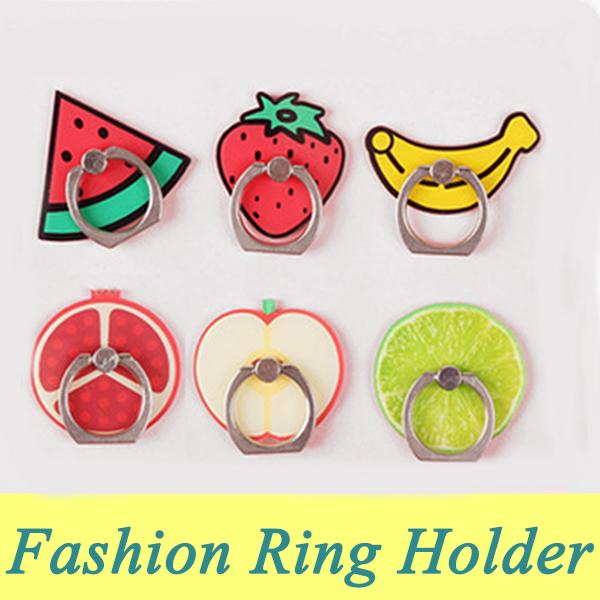 New Fruit Cartoon Cell Ring Phone Holder 360 Degree Rotation Anti Drop Kickstand Lazy Bracket Universal Cute Finger Stand For i Phone