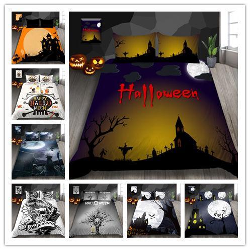 3D Halloween Kürbislaterne Druck Bettwäsche-Sets mit Kissenbezügen für Kindergeschenk