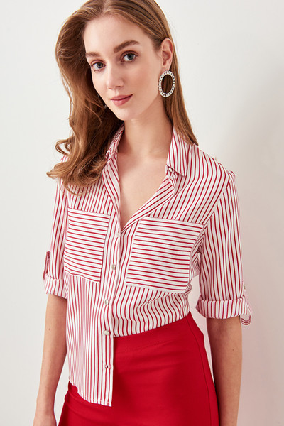 Camicia a righe rosse Trendyol TWOSS19ST0058