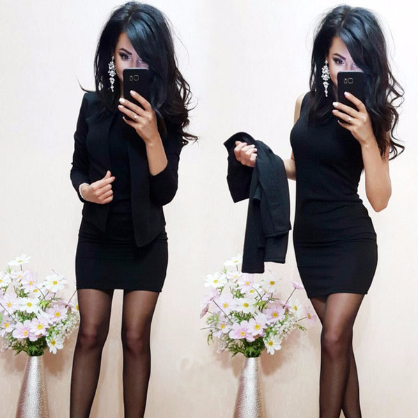 Women Clothing Business Suit Polyester Solid Color Splice Two-piece Suit Short Skirt Sweet Sleeveless Round Neck 50