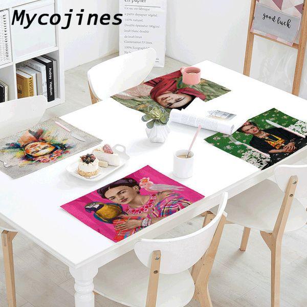 Mexican Table Napkins Painter Self-portrait Linen Tablecloth 42*32 Cm Tea Towel Family Table West Restaurant Decoration Placemat C19021301