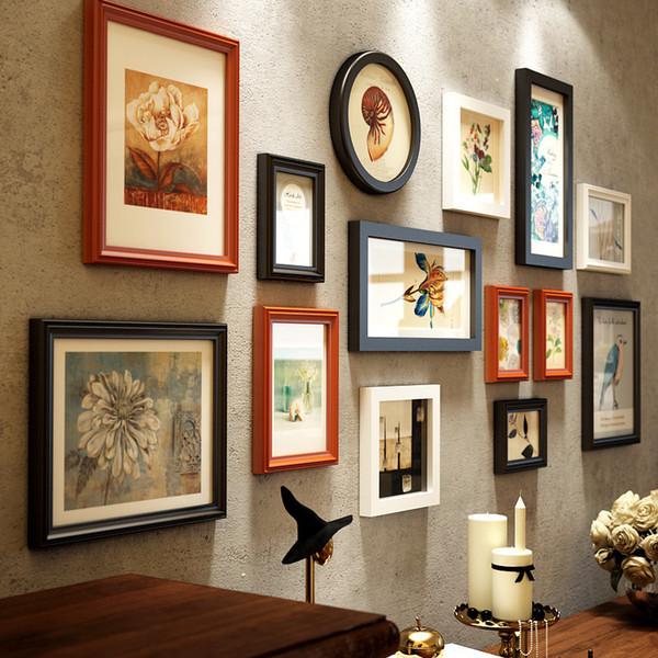 Новый творческий многоцветный европейский стиль 14 шт. Деревянная картина сочетание домашнего декора фоторамки набор J190716
