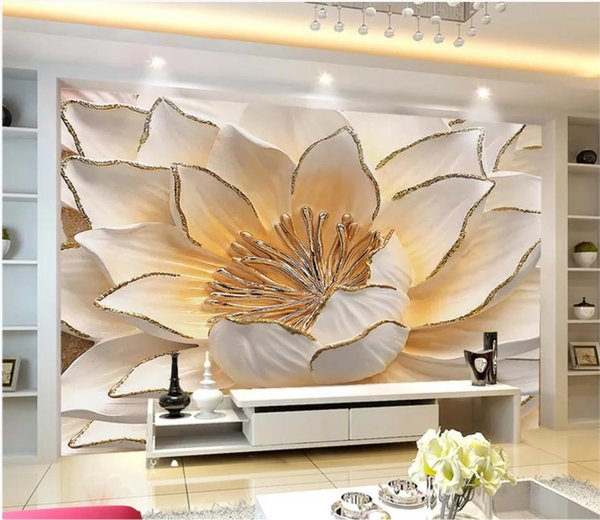 Acheter Chambre Papier Peint Moderne Fleur Minimaliste Moderne Relief TV  Fond Mur 3D Salon Peinture Décorative De $16.39 Du Yiwuwallpaper |  DHgate.Com
