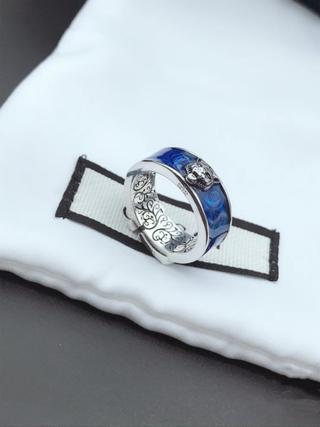 top popular Hot Shiny Blue Tiger Head Ring Luxury Personalized Ring Give You Couple Ring Christmas Gift Trend with Fashion Accessories 2019