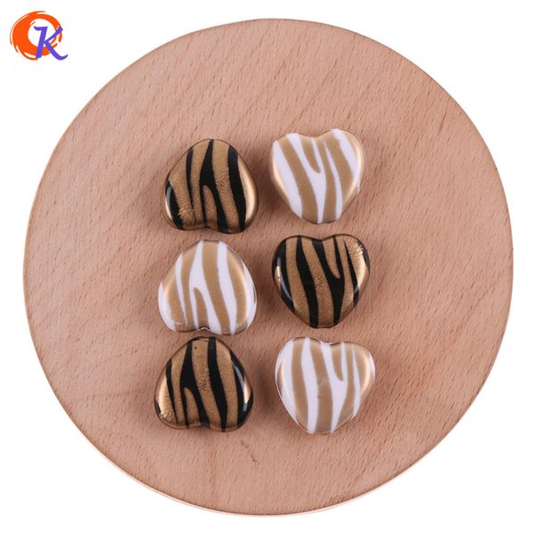 wholesale 19*19mm 100Pcs Acrylic Beads/Jewelry Accessories/Heart Shape/Gold Ripple Print Bead/Hand Made/Earring Findings