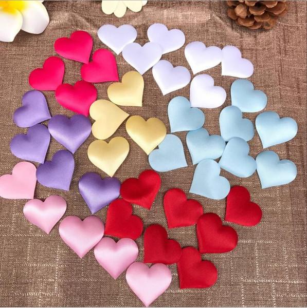 100 adet dia 3.5x3.5 cm Kumaş Kalp Düğün Konfeti Masa Dekorasyon doğum günü partisi Dekoratif Malzemeleri