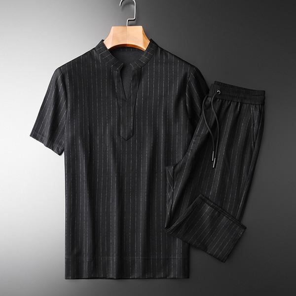 Minglu Summer Mens Sets (camiseta + pantalón) Luxury Stand Collar Manga corta Hombre Conjuntos Más Tamaño 4xl Casual Slim Stripe Male