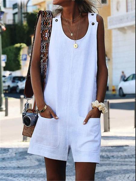 Moda Kadınlar Katı Renk Tulum Yeni Varış Kadın Tasarımcı Tulumlar Büyük Boy Bayan Yaz Rompers Bayan Giyim Tops Boyutu S-5XL