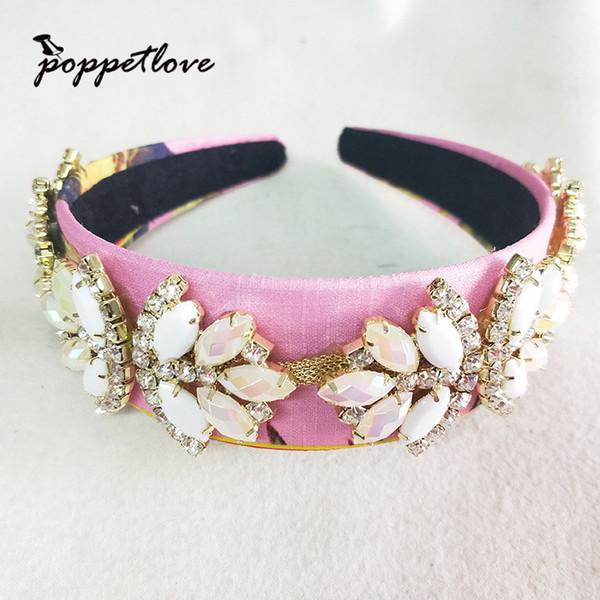 New Design Handmade Hairband Bridal Crystal Headband Women Pearl Crown Bridal Tiara Wedding Accessories Hair Ornaments C19022201