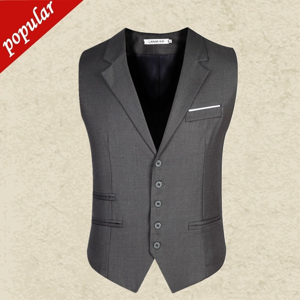 Men Slim Suit Vests Male Single Breasted Notched Collar Business Casual Vest Men Party Wedding Waistcoat Black/gray D139