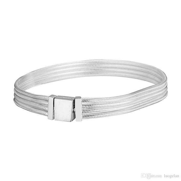2019 vendita calda europea adatto pandora perline argento bracciali per le donne riflessioni catena del serpente con catenaccio clip di fascino fai da te moda 925 gioielli