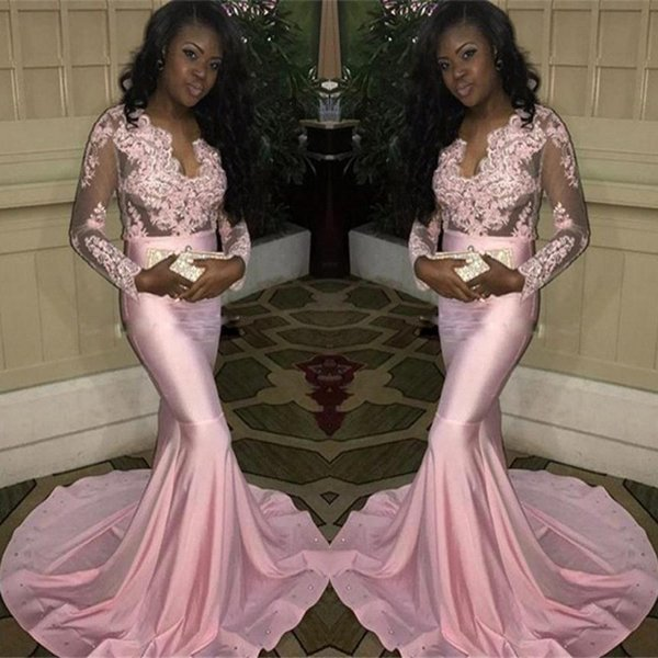 Black Girls Pink Sheer Long Sleeves Prom Dresses Mermaid Illusion Top Appliques V Neck Evening Gowns Custom Made BA7832