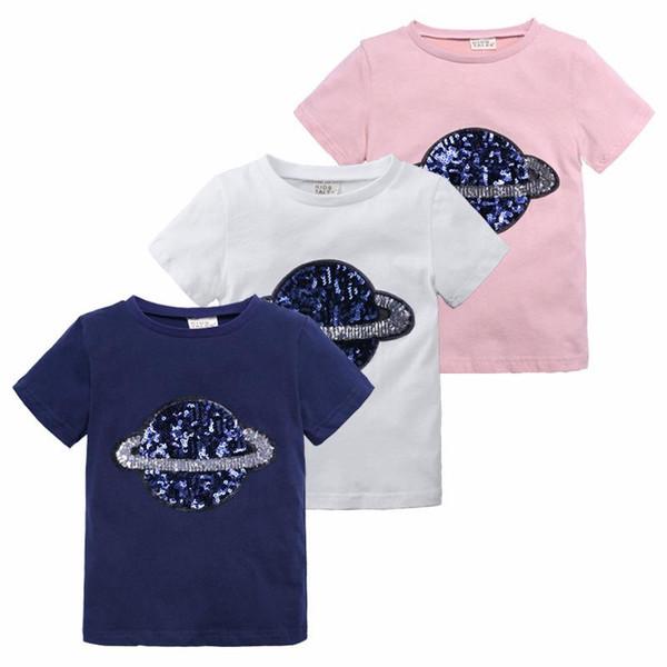 Sommer Designer-Stil Kinder Mädchen Kleidung Pailletten Planet T-Shirt Tees Kurzarm Tops 100% Baumwolle Großhandel Navy weiß Pink