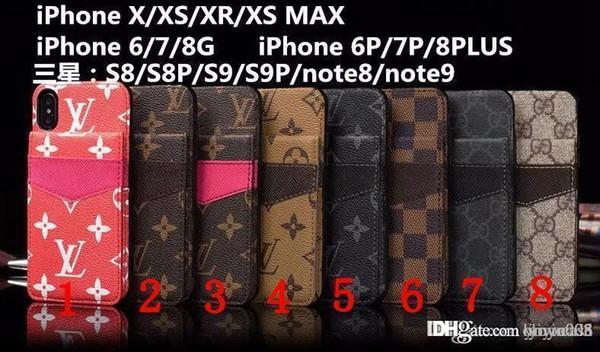Luxury brand phone ca e for iphone x x xr x max 7 7plu 8 plu card holder leather phone ca e de igner 9 9plu note 9x max 014