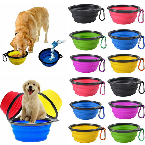 best selling 350ML Travel Collapsible Pet Dog Cat Feeding Bowl Water Dish Feeder Silicone Foldable 9 Colors To Choose