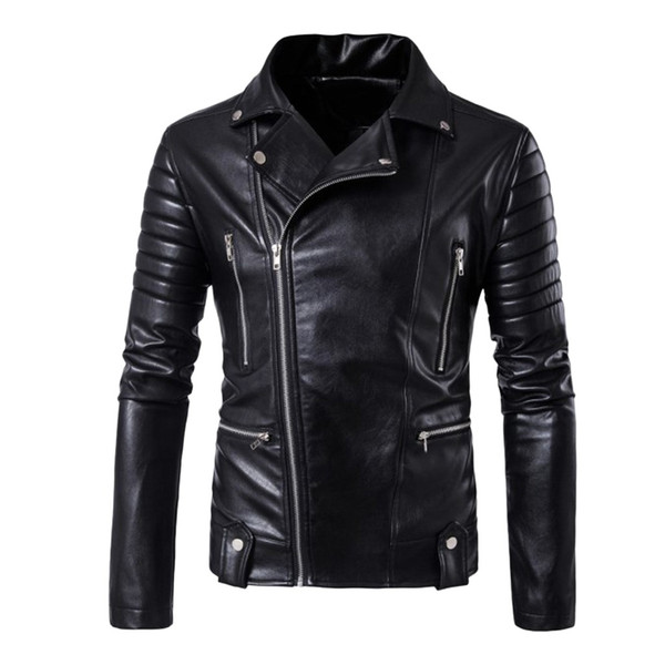 Homens Inverno Jaqueta de couro Brasão Biker Motorcycle Zipper Top manga comprida Blusas casaco masculino jaqueta masculino ropa mujer