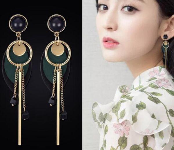 new hot Long Korean version of the school girl simple lovely earrings with tassel earrings fashion classic elegant