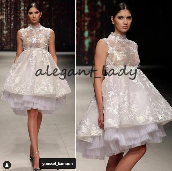 Short High Low Prom Homecoming Dresses 2019 High Neck Tiered Skirt Lace Applique Arabic Princess Puffy Evening Party Gown
