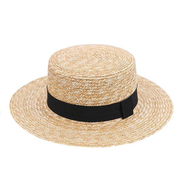 5cm Summer Flat sun hats for women wheat straw Hand knitted high quality bow Vintage top hat