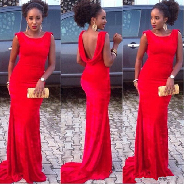 Sexy Evening Dresses 2019 Red Cowl Back Prom Dresses Mermaid Long Backless Plus Size Women Wear Party Gown celebrity dresses Custom Made