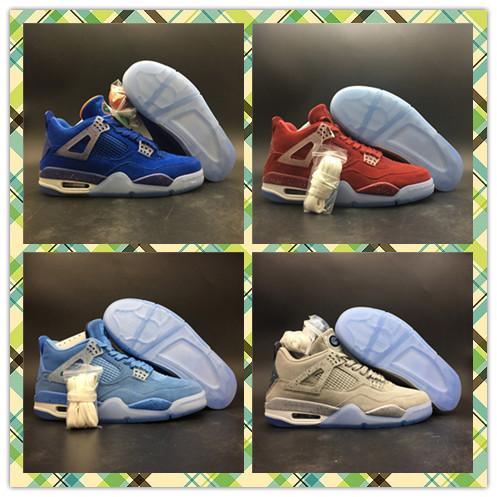 New 4 UNC Florida Gators Georgetown PE grigio blu uomo scarpe da basket 4S Oklahoma Sooners PE rosso sport all'aria aperta Trainer con bo