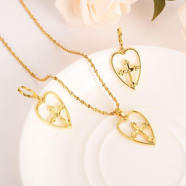 collana d'oro croce ciondolo collana maglione orecchini set di gioielli d'oro Christian set di gioielli per le donne ragazza migliori regali di Gesù