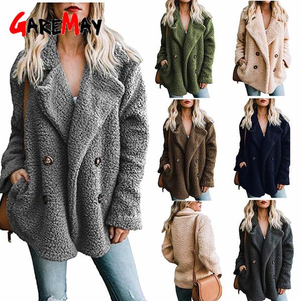teddy coat women elegant thick winter plush coat artificial fluffy fleece dual pocket faux fur teddy jacket female