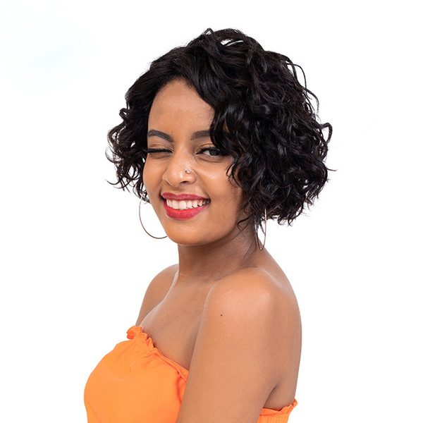 new hairstyle African Ameri brazilian hair short bob cut curly rarely lace front wig Simulation Human Hair bob wave wig side part in stock