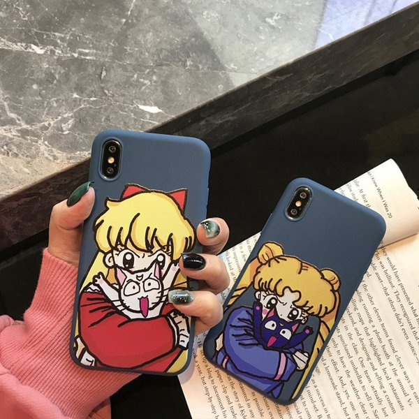 For Iphone Xr Phone Cases Cartoon Sailor Moon Matte TPU All-Inclusive Soft Silicone Cell Phone Case For Iphone X 6 7 8 Plus
