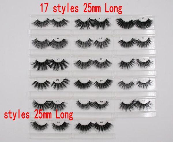 3D Cílios Postiços 25mm Longo Lashes Extensão Grosso Wispy Fofo Artesanal Ferramentas de Maquiagem Dos Olhos