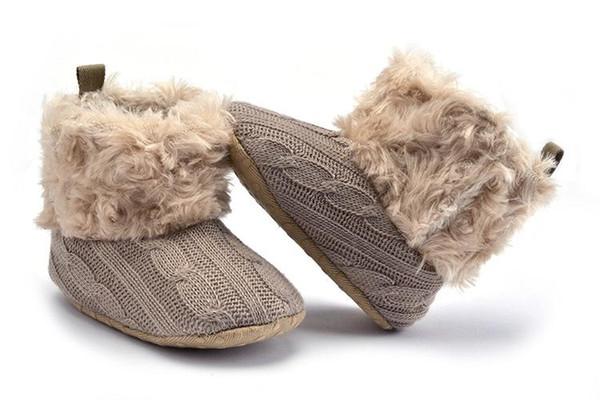 Toddler Girl Boy Shoes Newborn Knitting Fleece Winter Warm Bootie Bow Infant Girl Crib Floor Shoes Baby Boots Firstwalker