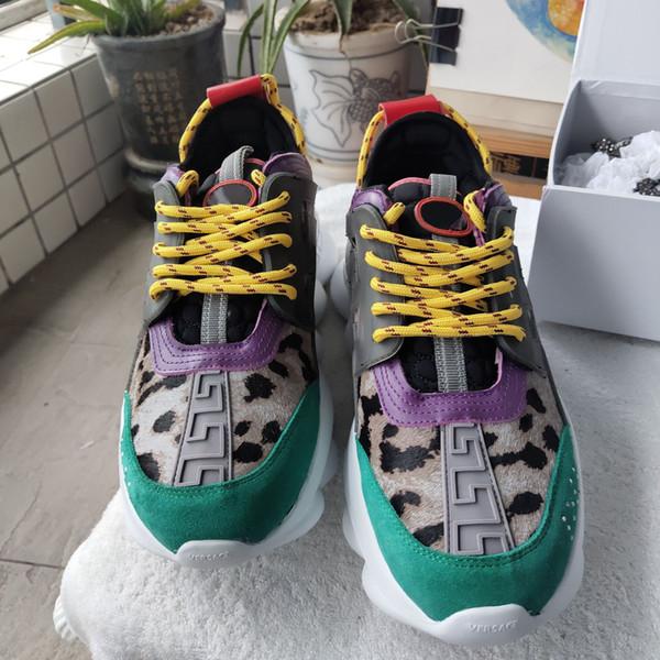 2019 catena Designer Reazione di lusso Scarpe da tennis delle donne degli uomini Runner Snow Leopard camoscio bianco nero calzature moda donna in pelle formatori