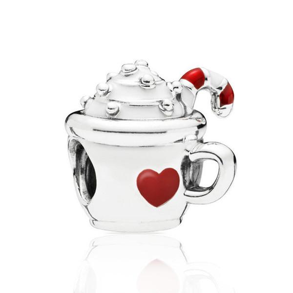 Hot 925 Sterling Silver Corda Red Heart Cup Charme, WarmFun Ice Cream fit Pandora Pulseira Beads Jóias Fazendo