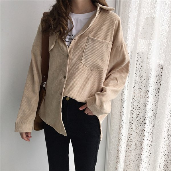 women blouse woman  new vintage long sleeve shirts spring and autumn women solid batwing sleeve blouse corduroy blouses women