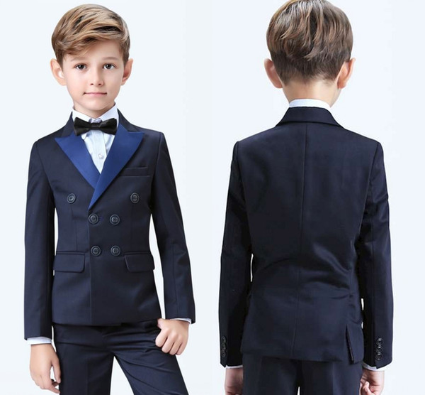 2019 Stylish Popular Double-Breasted Peak Lapel Kid Complete Designer Handsome Boy Wedding Suit Boys Attire Custom-Made (Jacket+Pants+Bow+Ve
